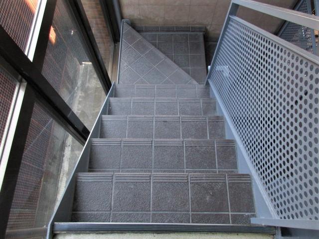 階段床タイル薬品洗浄前