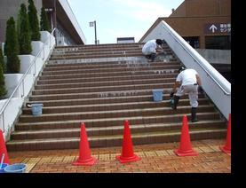 階段タイルエフロ除去洗浄